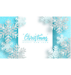christmas background with shiny silver snowflakes vector image
