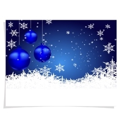 Christmas New Year s card Three blue shiny ball vector image