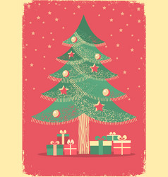 Christmas tree vintage card on old paper poster vector