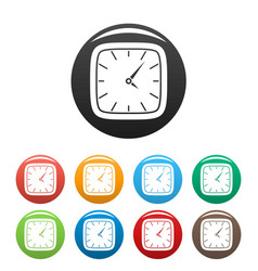 clock wall icons set color vector image