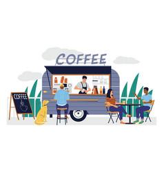 coffee shop cartoon street cafe in van trailer vector image