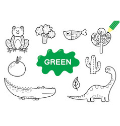Color elements in green coloring page vector