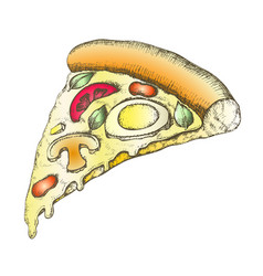 color vegetarian italian slice pizza vintage vector image