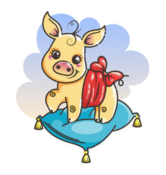 Cute cartoon baby golden pig vector