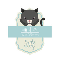 Cute little cat it s a boy frame vector