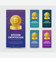 design of a vertical web banner with a gold coin vector image