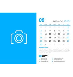 Desk calendar template for august 2020 week vector