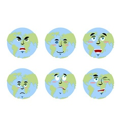 Earth emotions Set Planet with cartoon face vector image