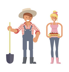 Farmers family character vector
