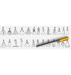 feminine elegant dresses doodle set vector image