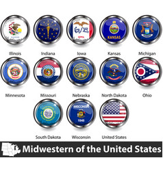 flags midwestern region us vector image