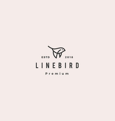 Flying bird logo hipster retro vintage icon line vector