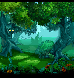 Forest of magic moving trees cartoon vector