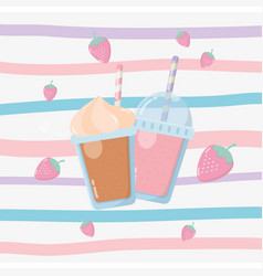 Fresh strawberries fruits sorbet with straw vector