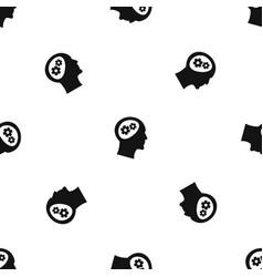 gear in head pattern seamless black vector image