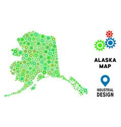 gears alaska map collage vector image