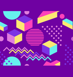 geometric seamless pattern in memphis and pop art vector image