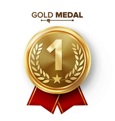Gold 1st place medal metal realistic badge vector