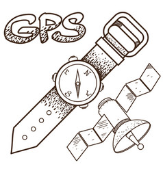 Gps logo watches and satellite outline location vector