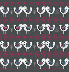 grey scandinavian love birds pattern design vector image