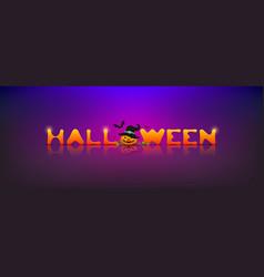 Halloween message pumpkin and bat banner vector