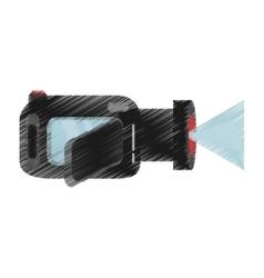 Hand colored drawing video camera icon vector