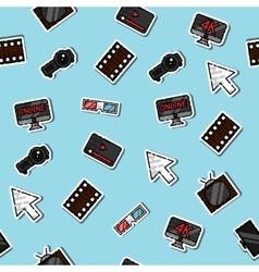 Hand drawn online cinema pattern vector