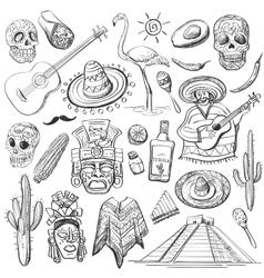 Hand drawn set mexican symbols vector