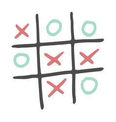hand-drawn tic tac toe game color vector image