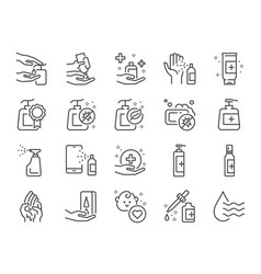 hand sanitizer line icon set vector image