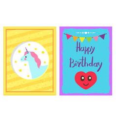happy birthday set headline vector image