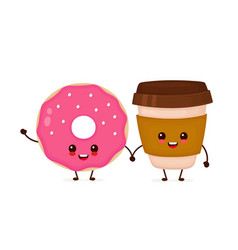 Happy cute smiling donut and coffee vector