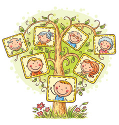 Happy family tree in pictures vector