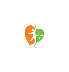 Happy people heart active logo vector