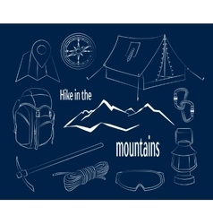 Hike in the mountains vector