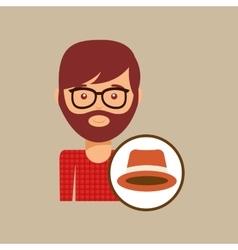 Hipster orange hat man bearded vector