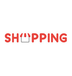 Icon concept of shopping word with shop store vector