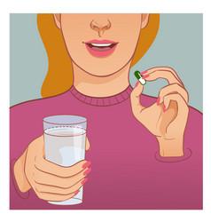 Ill woman takes medicine vector