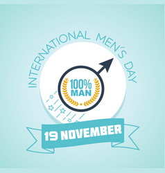 International men s day 100 percent vector