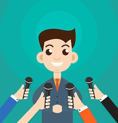 Interview a businessman or politician answering vector image
