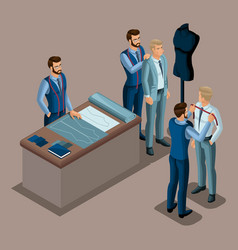Isometric tailor the creation of quality clothing vector