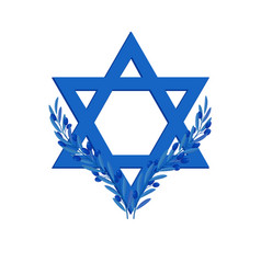 Israel independence day star of david and olive vector