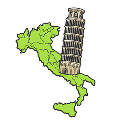 Italy map and leaning tower pisa sketch vector
