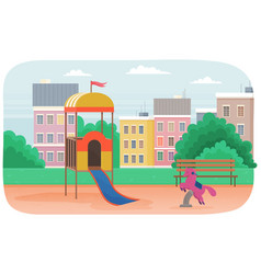 Kids playground equipment with bench slides vector