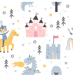 Knight pattern on white background for children vector