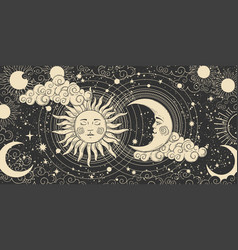 Magical banner for astrology celestial alchemy vector