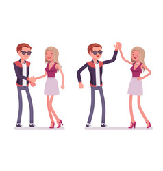 male and female friends greeting vector image