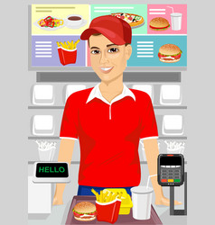 male cashier at fast food restaurant vector image