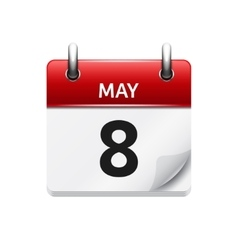 May 8 flat daily calendar icon Date and vector