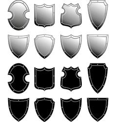 Metal heraldic shield set vector